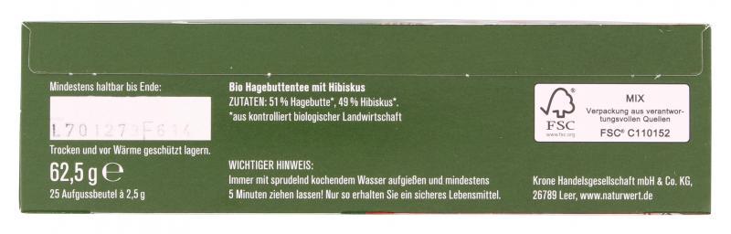 NaturWert Bio Hagebutten-Tee mit Hibiskus