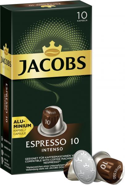 Jacobs Kaffeekapseln Espresso 10 Intenso, 10 Nespresso®* kompatible Kapseln