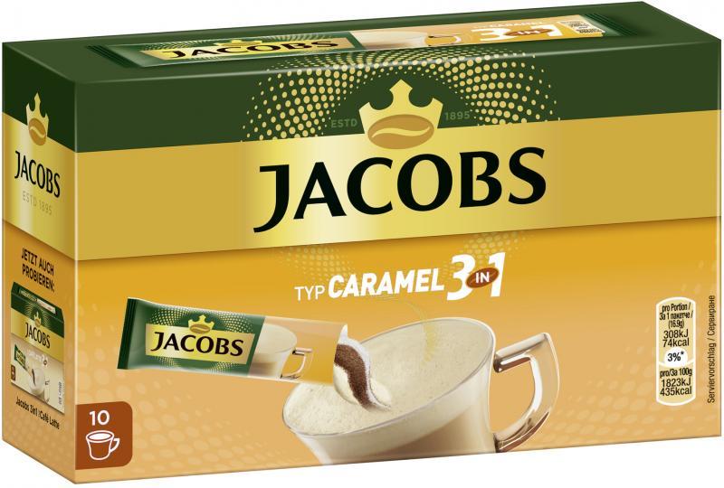 Jacobs Kaffeespezialitäten 3in1 Typ Caramel, 10 Sticks mit Instant Kaffee