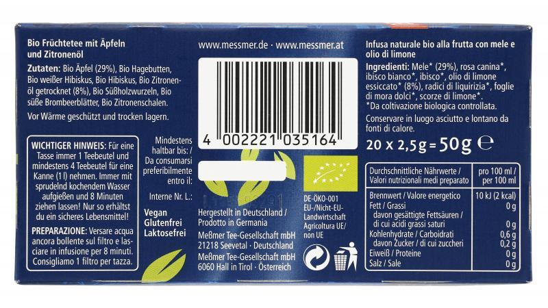 Meßmer Bio Apfel Zitrone