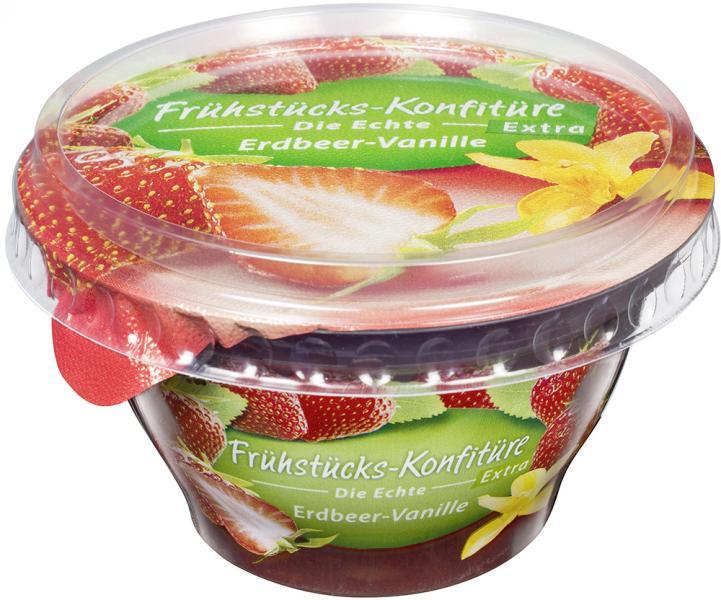 Frühstücks-Konfitüre die Echte Extra Erdbeer-Vanille