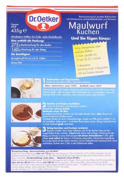 Dr Oetker Maulwurf Kuchen Online Kaufen Bei Mytime De