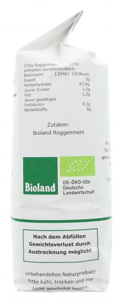 Mühle Erks Bioland Roggenmehl Typ 1150