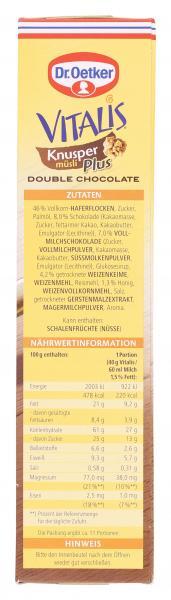 Dr. Oetker Vitalis Knuspermüsli Plus Double Chocolate