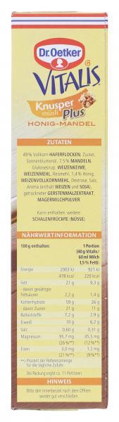 Dr. Oetker Vitalis Knuspermüsli Plus Honig-Mandel