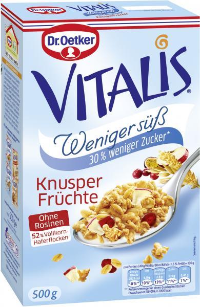 Dr. Oetker Vitalis Weniger süß Knusper Früchte Müsli