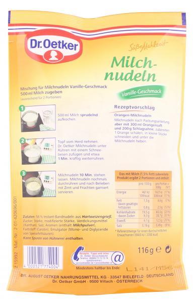 Dr. Oetker Süße Mahlzeit Milchnudeln Vanille-Geschmack