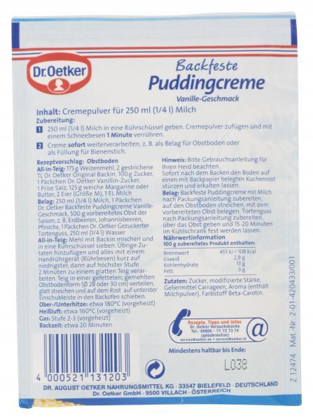Dr. Oetker Backfeste Puddingcreme Vanille-Geschmack