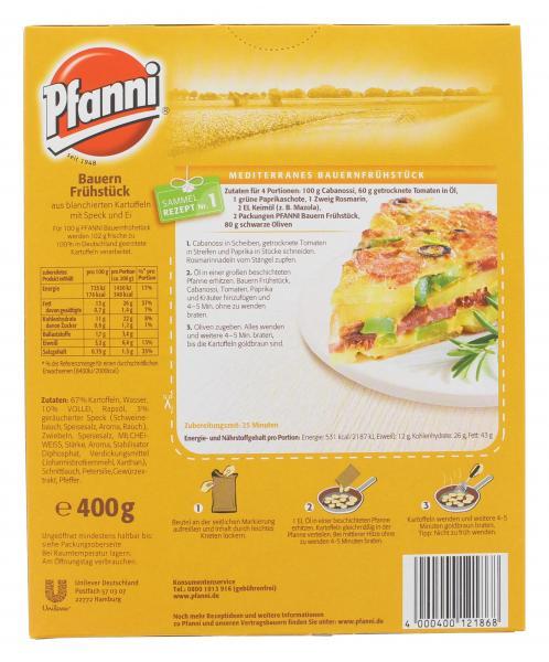Pfanni Bauernfrühstück Bratkartoffeln mit Speck & Ei