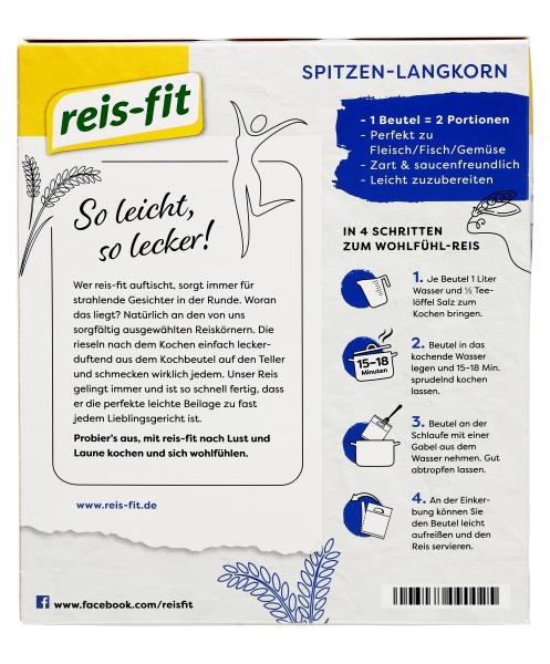 Reis-fit Spitzen-Langkorn-Reis Kochbeutel