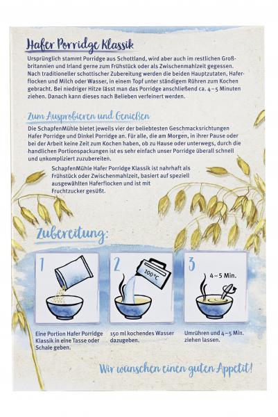 Schapfenmühle Porridge Hafermahlzeit Natur