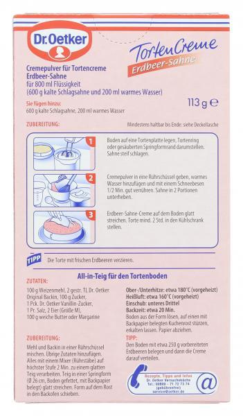 Dr. Oetker Torten Creme Erdbeer-Sahne