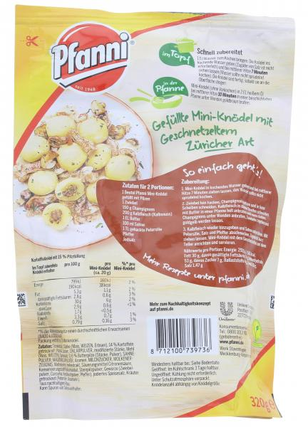 Pfanni Mini-Knödel gefüllt mit Pilzen
