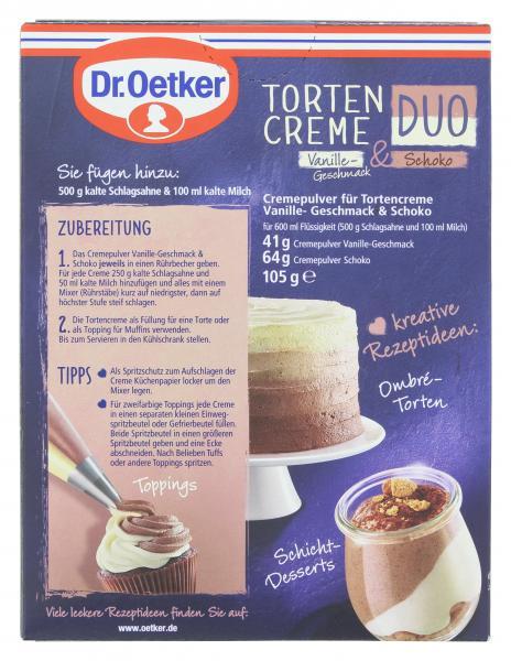 Dr. Oetker Tortencreme Duo Vanillegeschmack & Schoko
