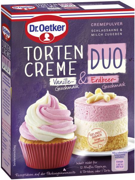 Dr. Oetker Tortencreme Duo Vanillegeschmack-Erdbeerg.