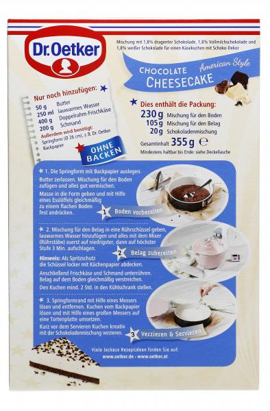 Dr. Oetker Cheesecake American Style Chocolate