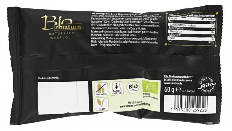 Rinatura Bio Foodie Lifestyle Porridge Var.2 Cranberry-Chia