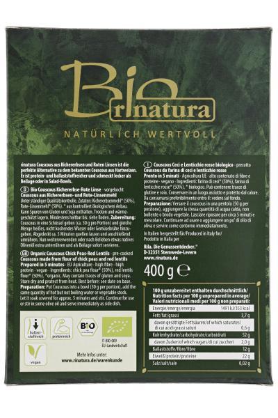 Rinatura Bio Couscous Kichererbse & rote Linse