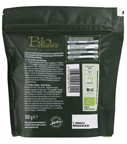 Rinatura Bio Plant Power Trail Mix mit Walnuss & Paranuss