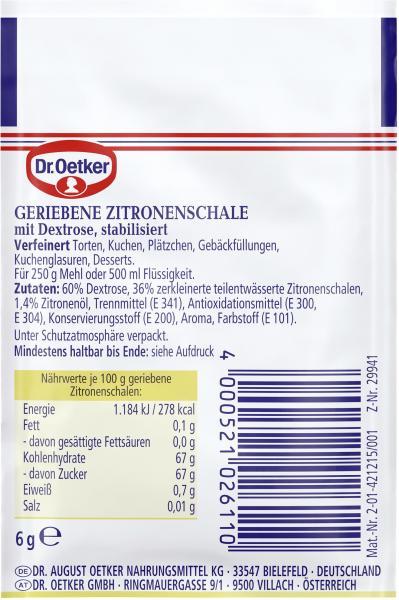 Dr. Oetker Finesse Geriebene Zitronenschale