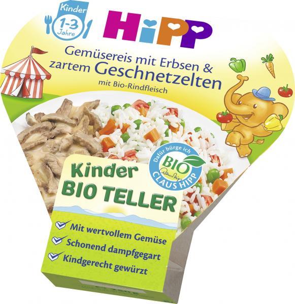 Hipp Gemüsereis mit Erbsen & zartem Geschnetzelten