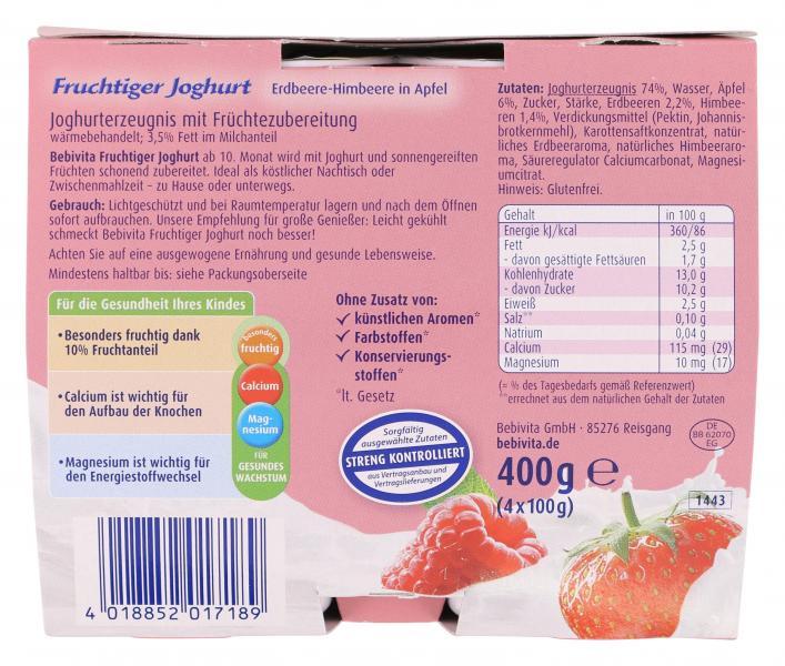 Bebivita Fruchtiger Joghurt Erdbeere-Himbeere in Apfel