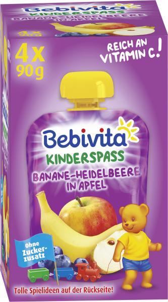 Bebivita Kinderspass Banane-Heidelbeere in Apfel