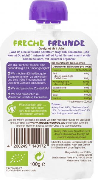 Erdbär Freche Freunde Fruchtmus Apfel-Blaubeere & Schwarze Karotte