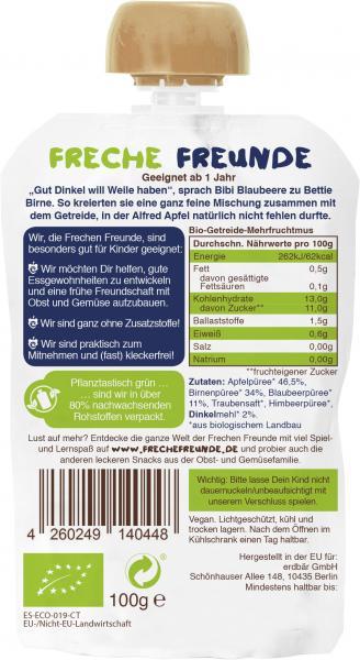 Erdbär Freche Freunde Fruchtmus Apfel-Birne-Blaubeere & Dinkel