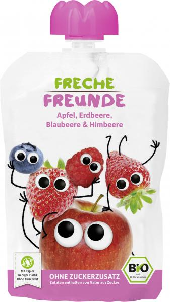 Erdbär Freche Freunde Fruchtmus Apfel-Erdbeere-Blaubeere-Himbeere