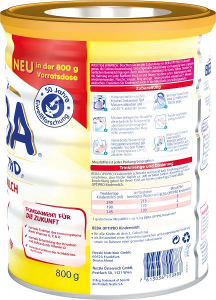 Nestlé Beba Optipro Kindermilch ab dem 2. Geburtstag