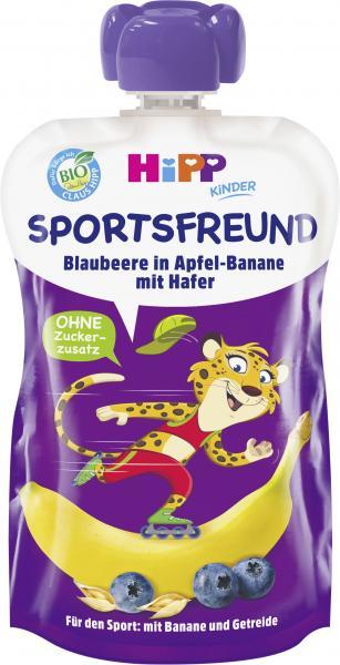 Hipp Kinder Sportsfreund Quetschbeutel Blaubeere in Apfel-Banane mit Hafer