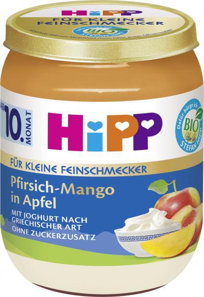 Hipp für kleine Feinschmecker Pfirsich-Mango in Apfel mit Joghurt nach griechischer Art