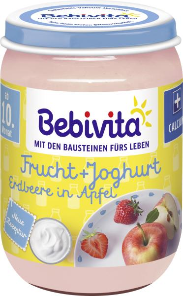 Bebivita Frucht + Joghurt Erdbeere in Apfel