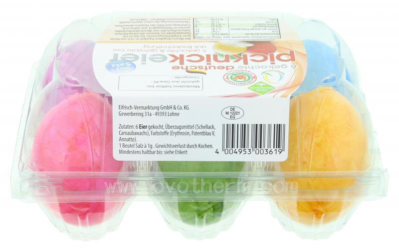 Eifrisch Picknickeier gekocht & gefärbt Bodenhaltung