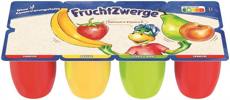 Danone Fruchtzwerge Erdbeere, Banane, Pfirsich-Birne