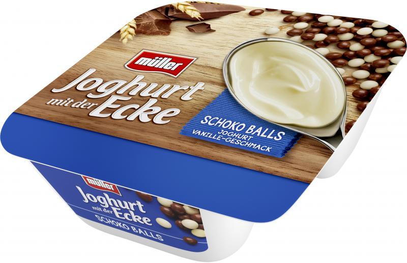 Müller Joghurt mit der Ecke Knusper Schoko Balls & Joghurt Vanille Geschmack