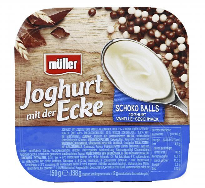 Müller Joghurt mit der Ecke Schoko Balls Joghurt Vanille-Geschmack