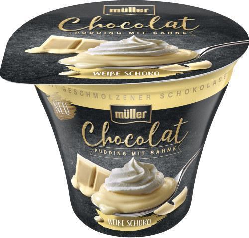 Müller Chocolat Pudding mit Sahne weiße Schoko