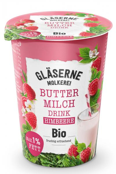 Gläserne Molkerei Bio Buttermilchdrink Himbeere