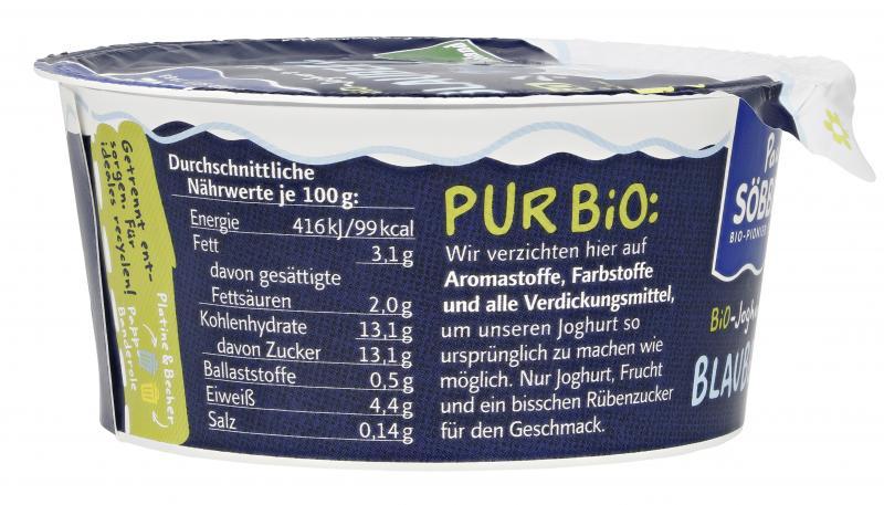 Söbbeke Pur Bio Joghurt Blaubeere