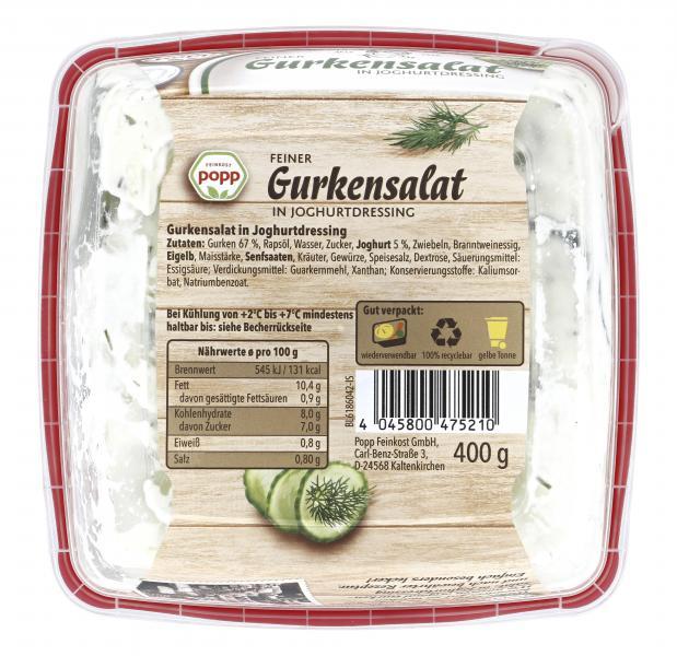 Popp Gurkensalat in Joghurtdressing