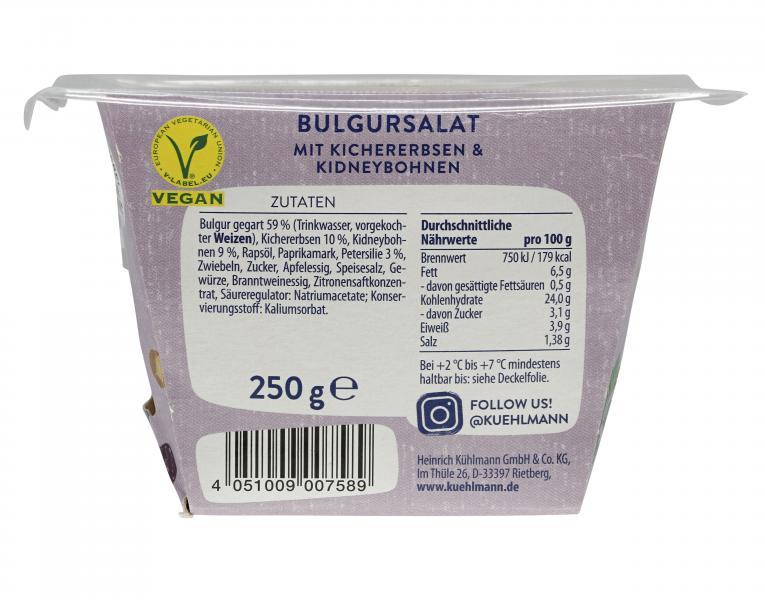 Kühlmann Bulgursalat mit Kidneybohnen und Kichererbsen