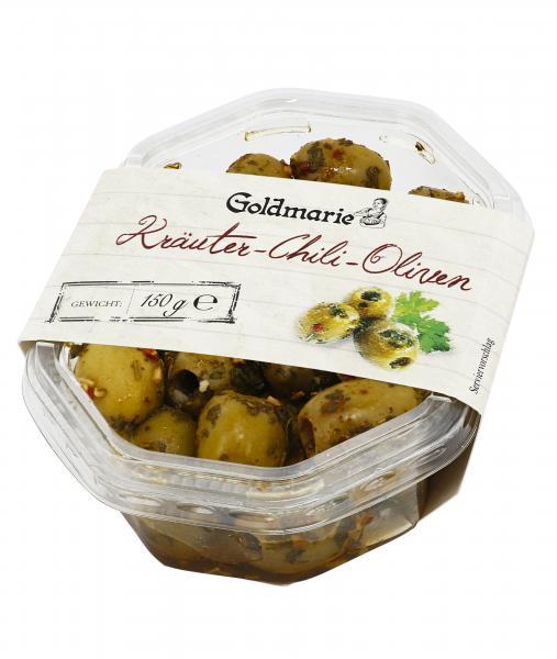 Goldmarie grüne Oliven mit Kräutern und Chili