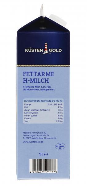 Küstengold Fettarme H-Milch 1,5%