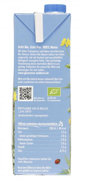 Gläserne Molkerei fettarme Bio H-Milch 1,5%