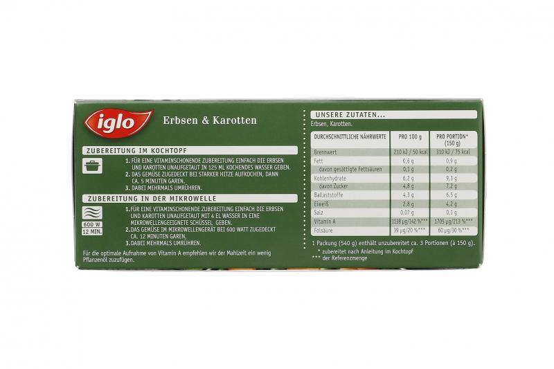 Iglo Frisch vom Feld Erbsen & Karotten