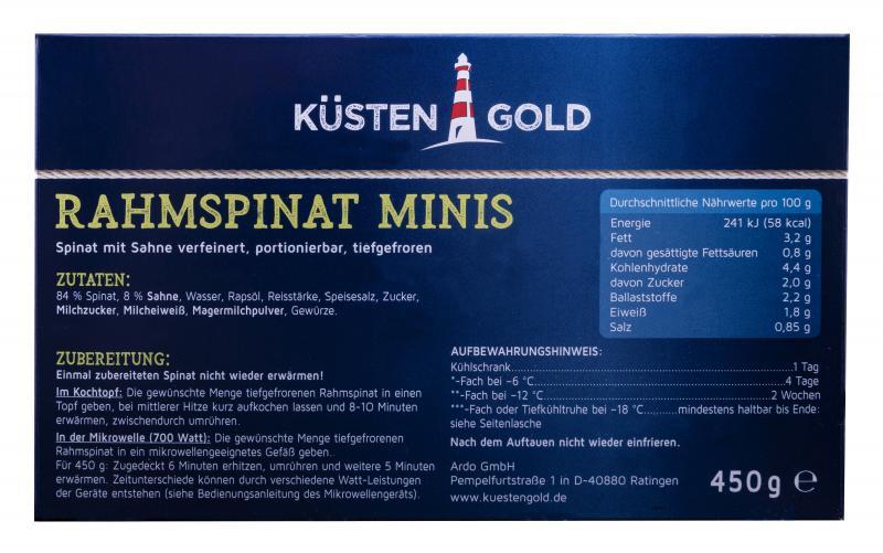 Küstengold Rahmspinat Minis