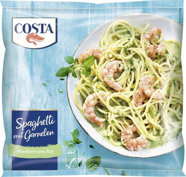Costa Pacific Prawns auf Spaghetti mediterrane Kräuter