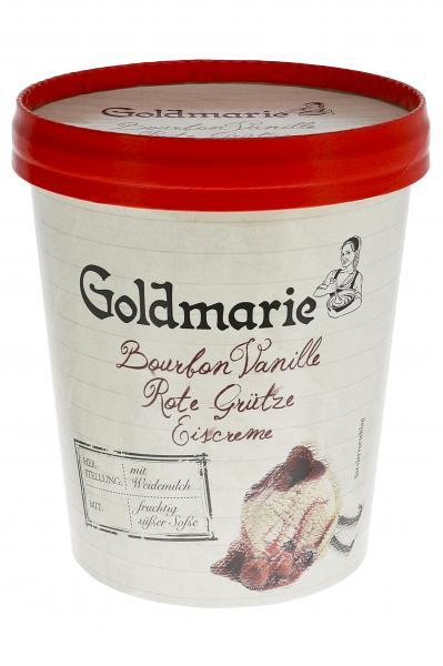 Goldmarie Eiscreme Bourbon Vanille Rote Grütze